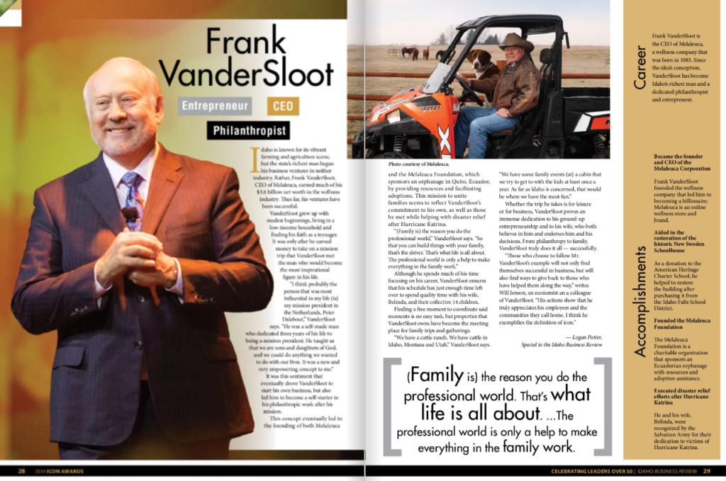 愛達荷州報紙頒發榮譽獎予Frank VanderSloot