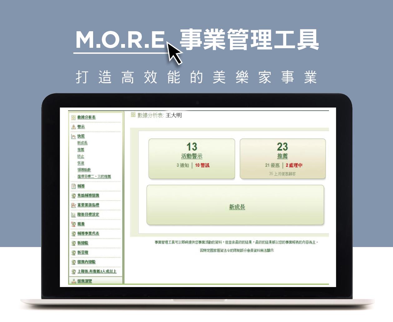 M.O.R.E.事業管理工具 打造高效能的美樂家事業